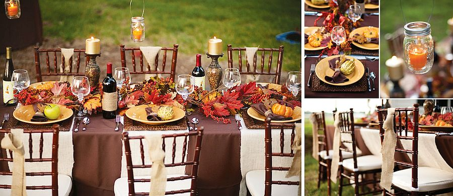 Rustic outdoor thanksgiving tablescape from Hostess with the Mostess