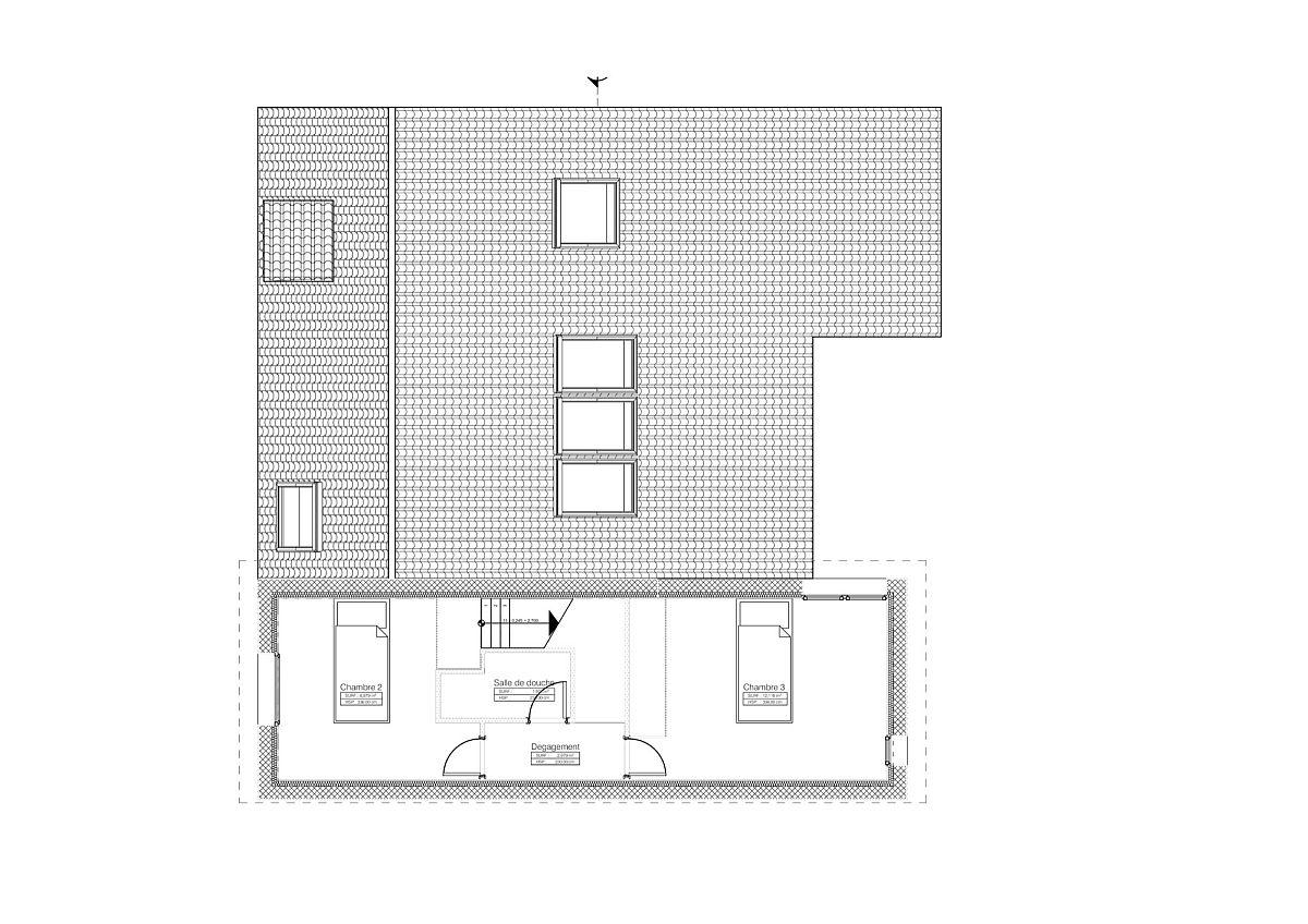 Second level floor plan of the bookshelf house
