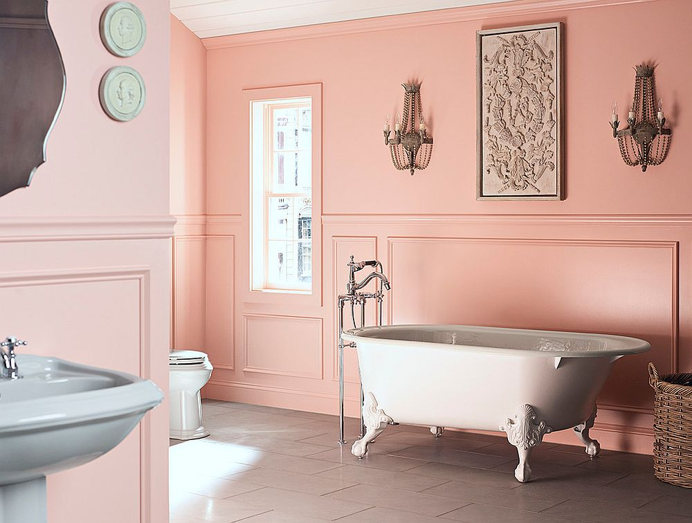 Sensational bathroom in soft grey and pastel pink with an air of femininity