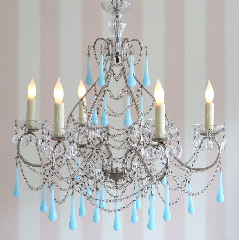 Shabby Chic Couture's Pirouette Chandelier in Aqua