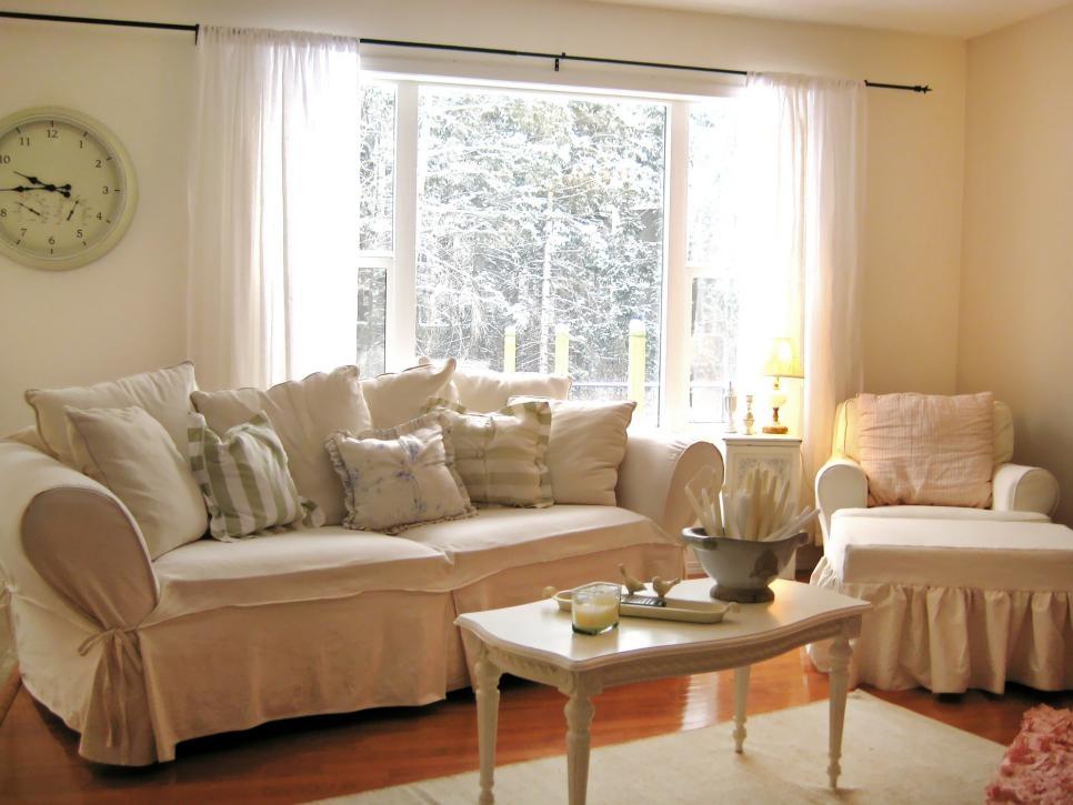 Shabby chic living room style via HGTV