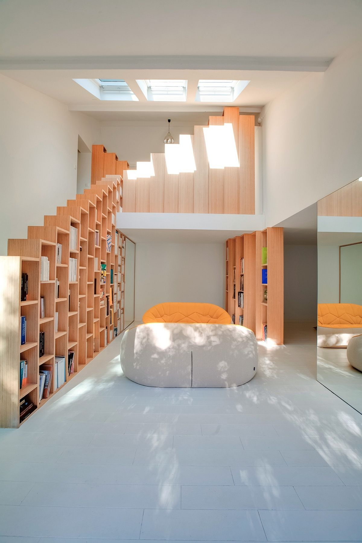 Skylights bring plenty of natural light into the lower level living area