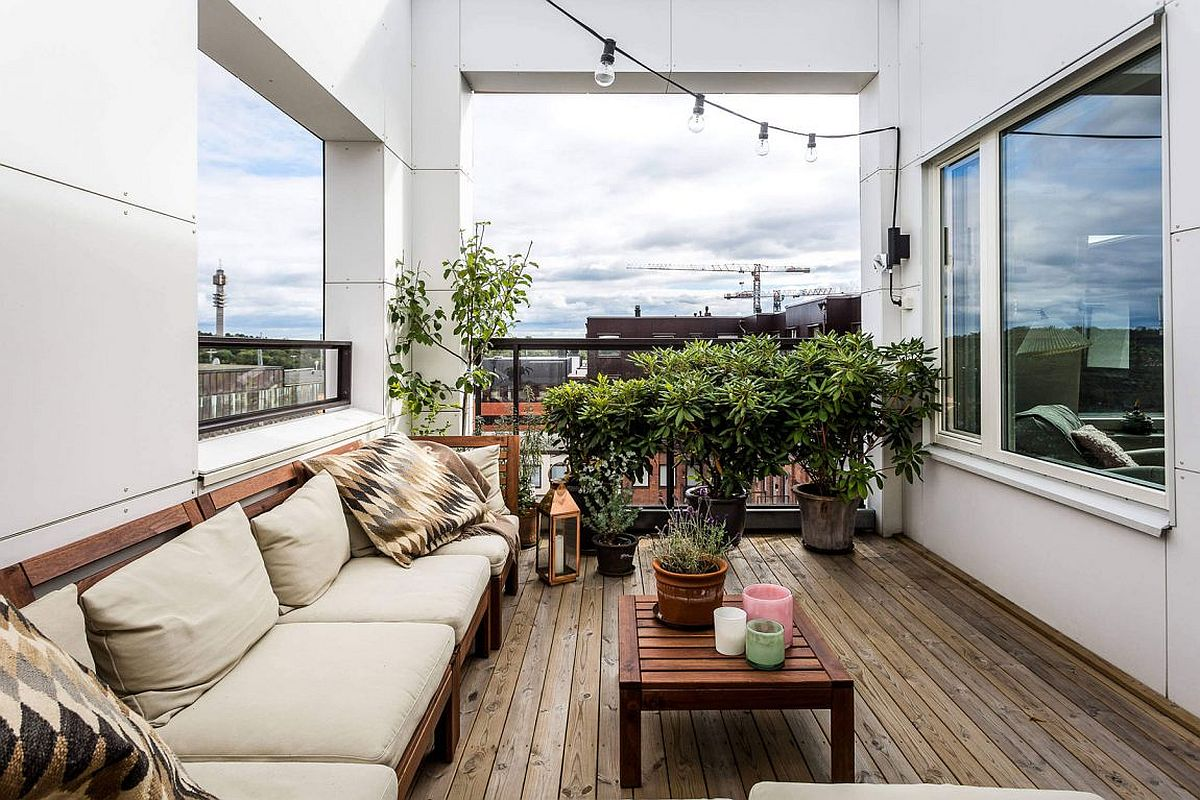 Small balcony of the contemporary apartment in Stockholm