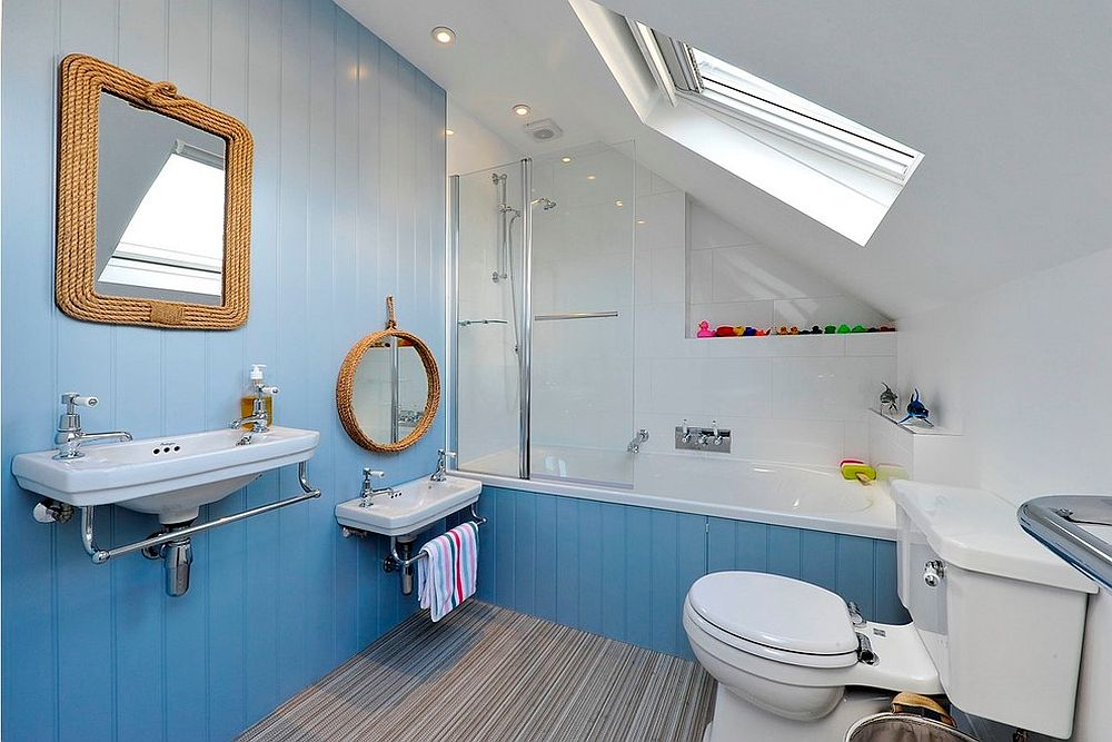 Small beach style bathroom in blue with a hint of gray [Design: PVA Developments]