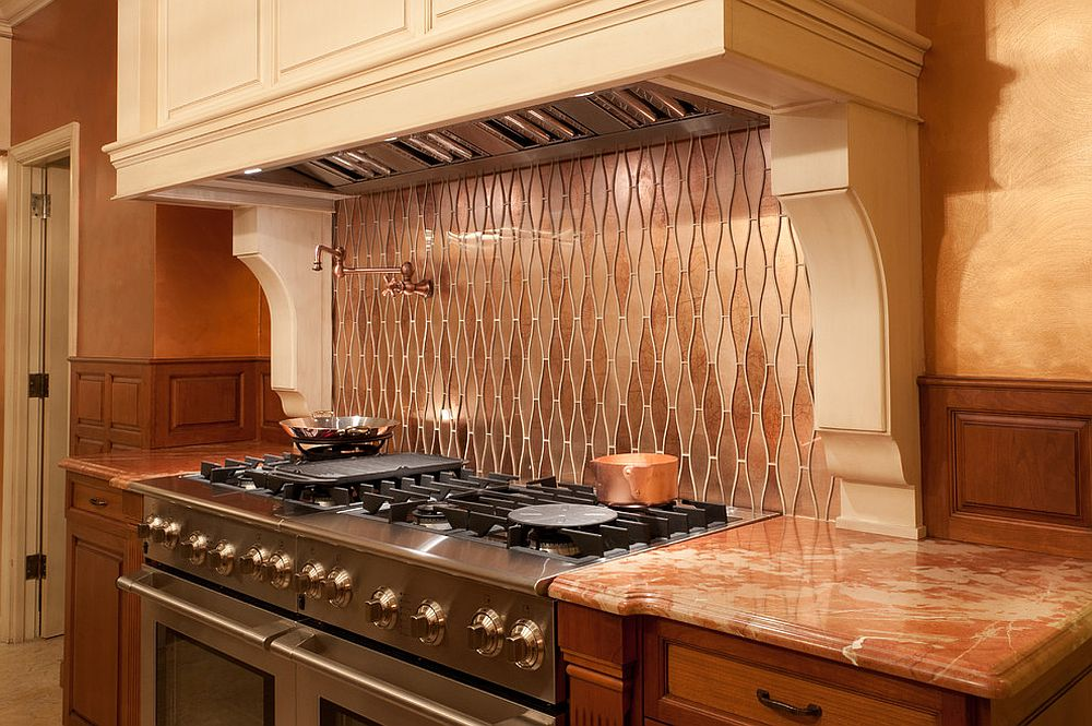 Small modern kitchen with custom copper backsplash that also adds pattern