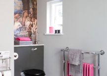 Small transitional bathroom in gray with pink accents
