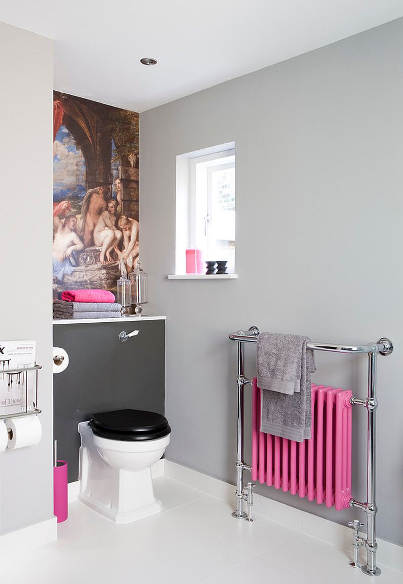 Small transitional bathroom in gray with pink accents [Design: Armstrong Keyworth]