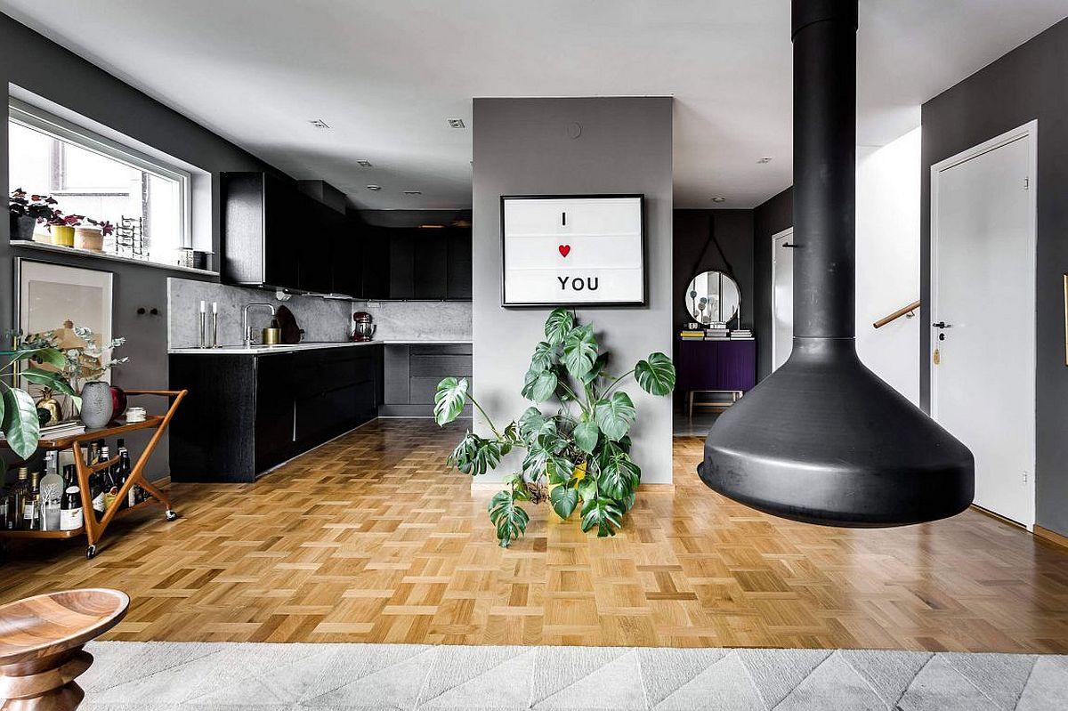 scandinavian style meets gray panache inside this. Black Bedroom Furniture Sets. Home Design Ideas