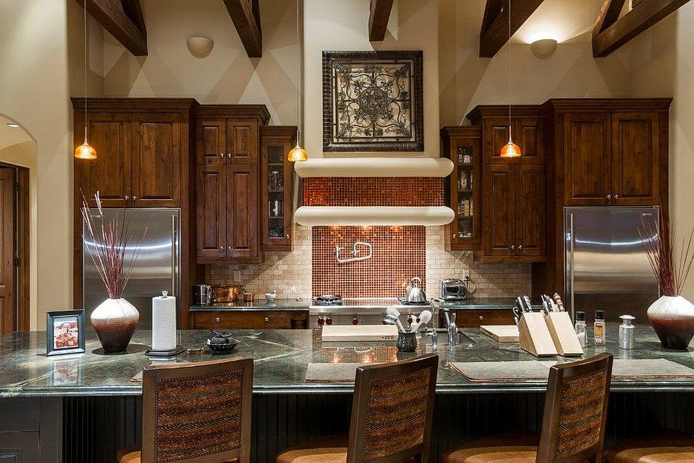 Sparkling copper backsplash for modern kitchen with dining space [Design: Fisher Custom Homes]