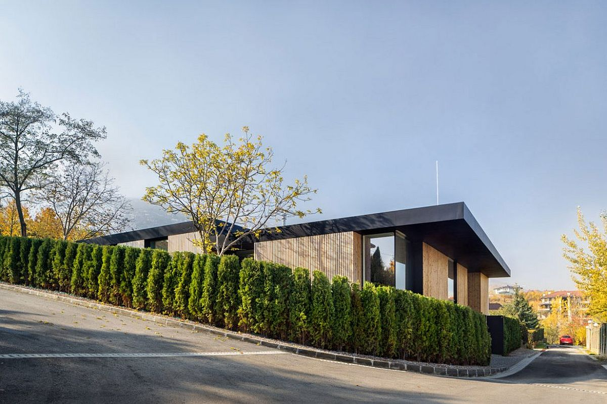 Street view of contemporary home on the outskirts of Sofia Serene Pagoda House Offers Panoramic City and Mountain Views