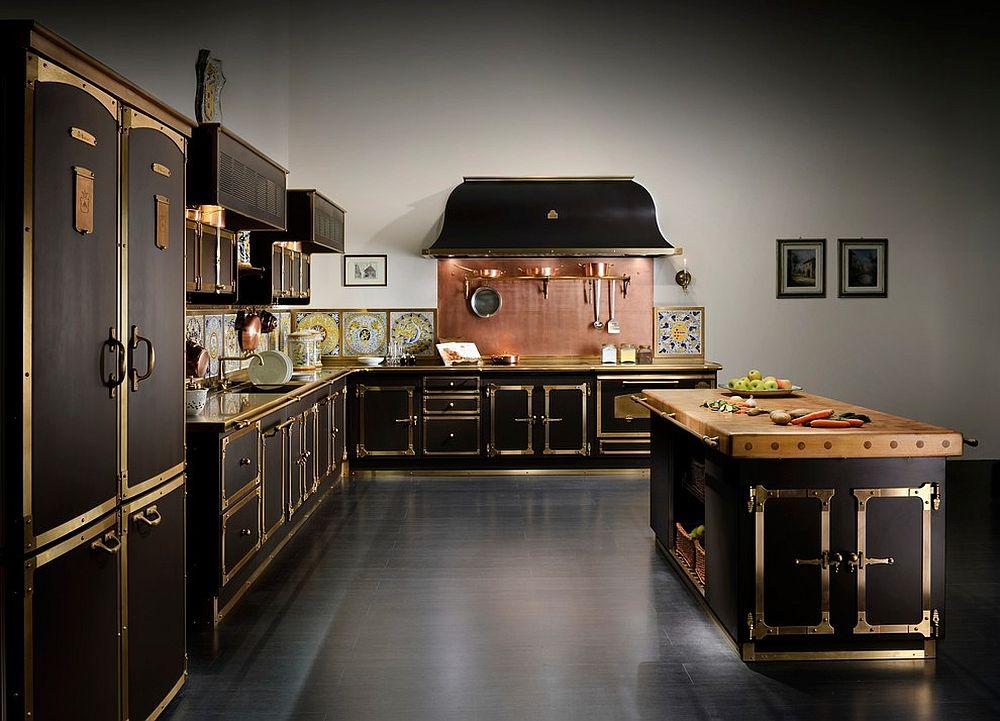 Stunning Mediterranean kitchen with cool copper backsplash [Design: Officine Gullo USA]