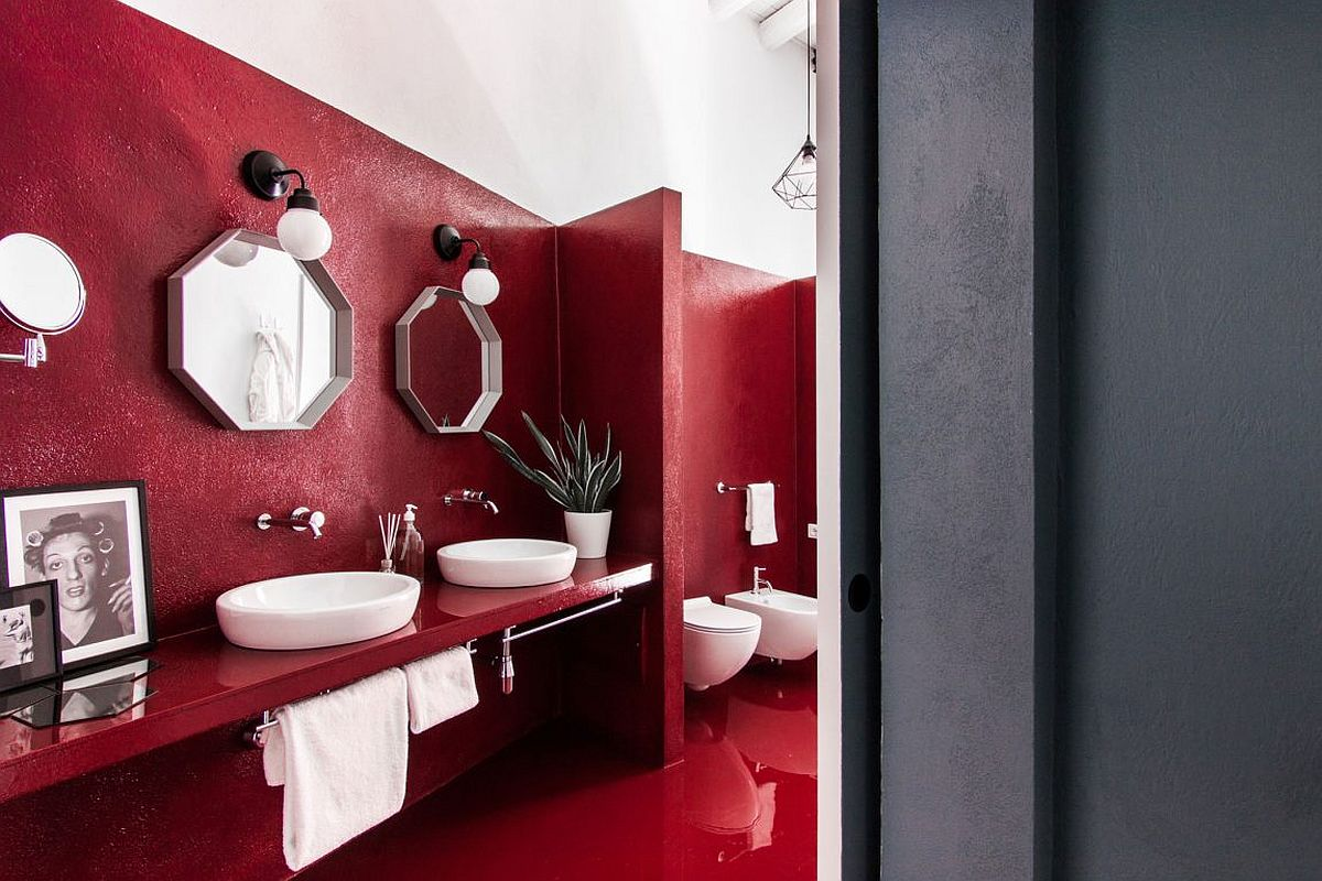 Stunning contemporary bathroom in bright red