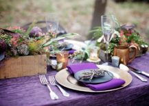 Stunning outdoor Thanksgiving table with a splash of purple