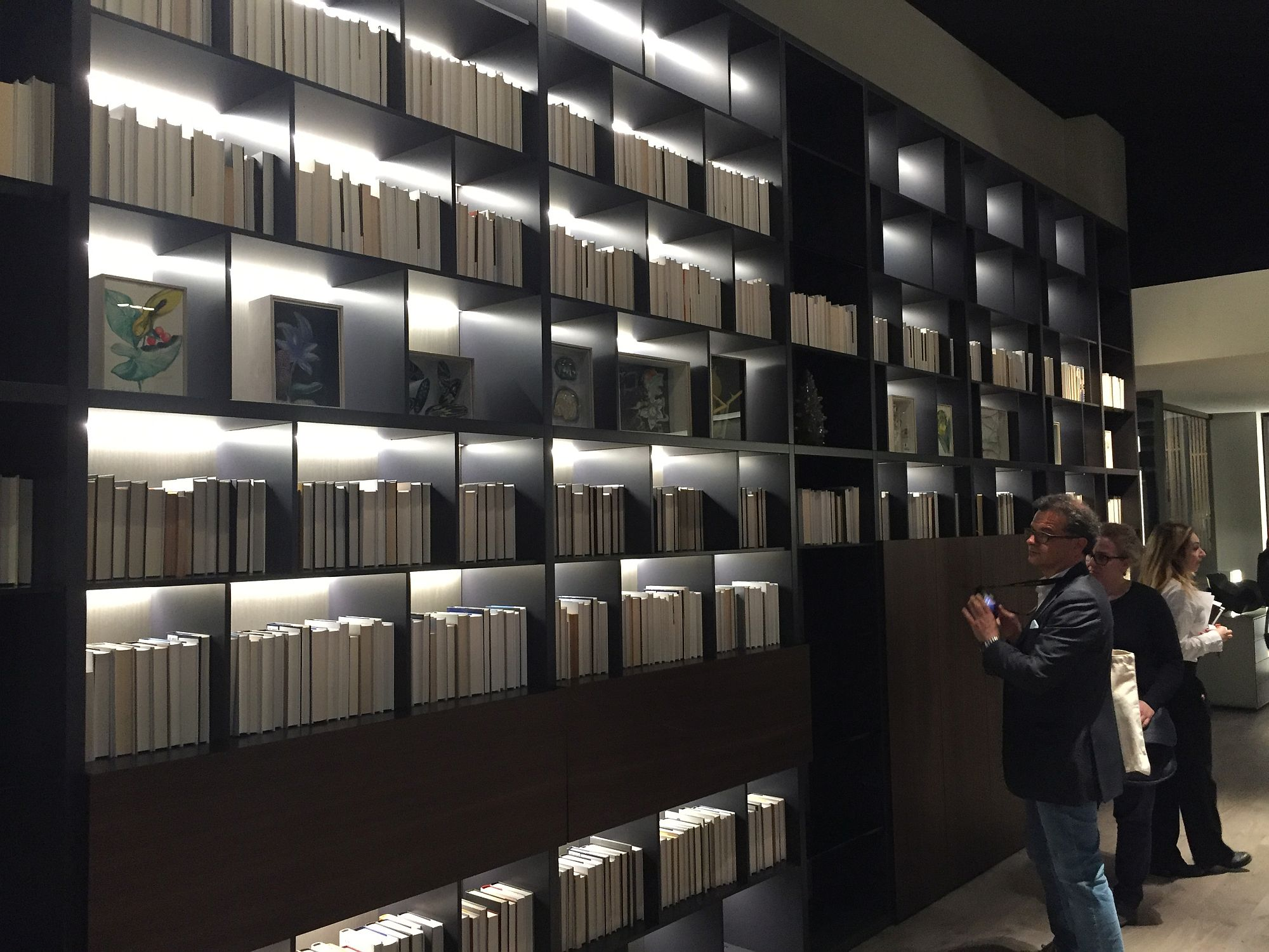 Stunning way to decorate your home library wall with illuminated bookshelves filled with your vast book collection