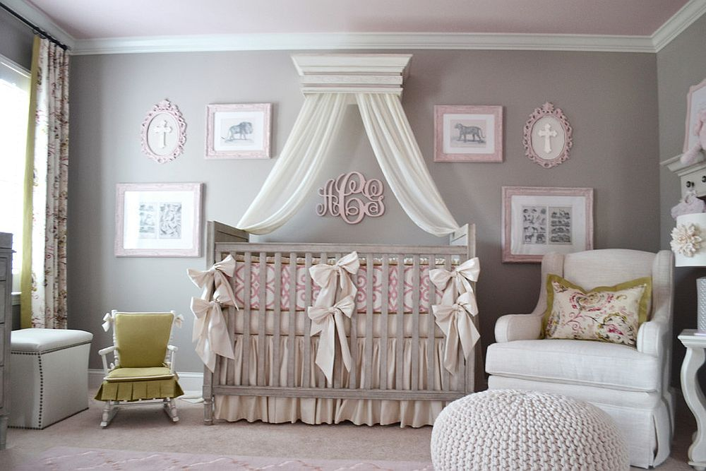 Subtle presence of pastel pink turns the gray room into a gorgeous girls' nursery