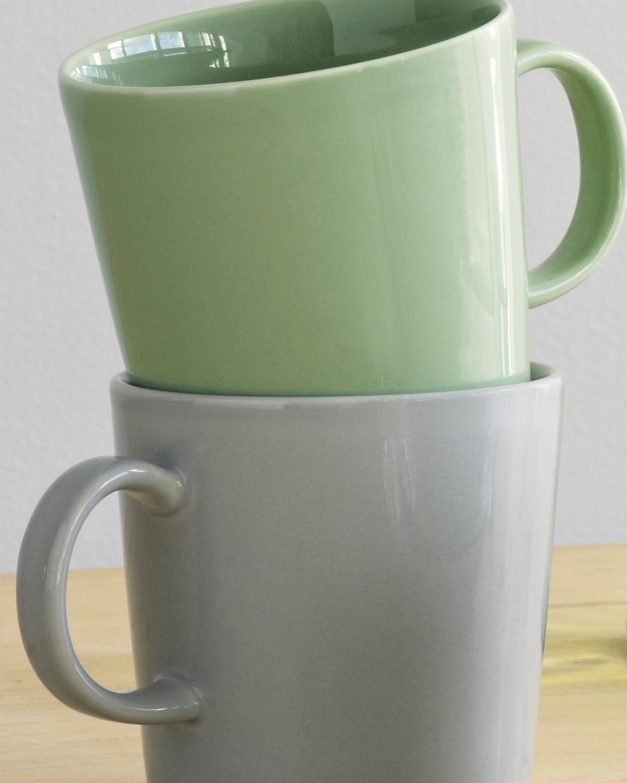 Teema mugs in pearl grey andceladon green.
