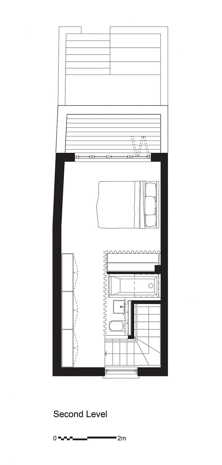 Top level floor plan with master bedroom and balcony