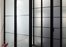 Translucent screens with dark, metallic frame allow light to fliter through