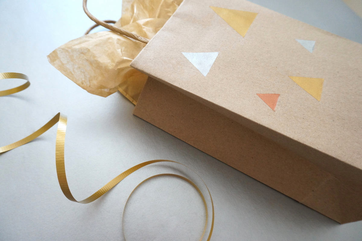Triangle motif on a DIY gift bag