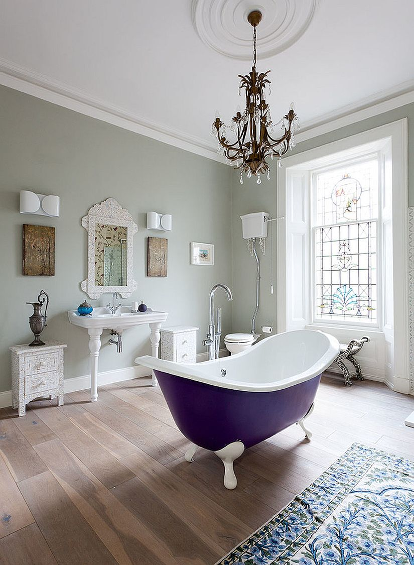 Victorian style bathroom with fabulous, bright standalone bathtub