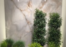 Wall of green for the small contemporary bathroom