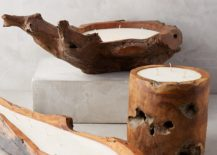 Wooden candle holders from Anthropologie