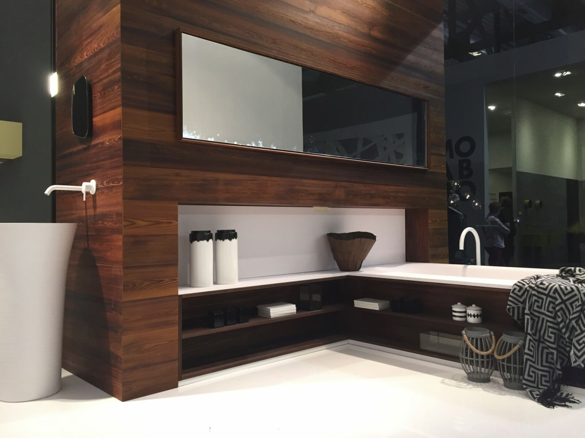 Wooden tones create warmth in a modern bathroom