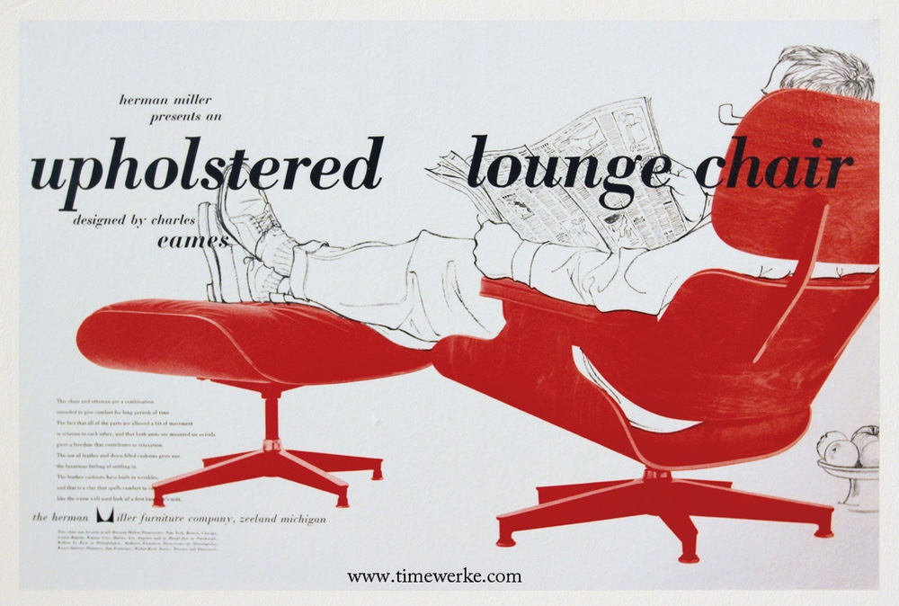 A 1956 Herman Miller advertisement for the Eames Lounge Chair and Ottoman. Image via Salt.