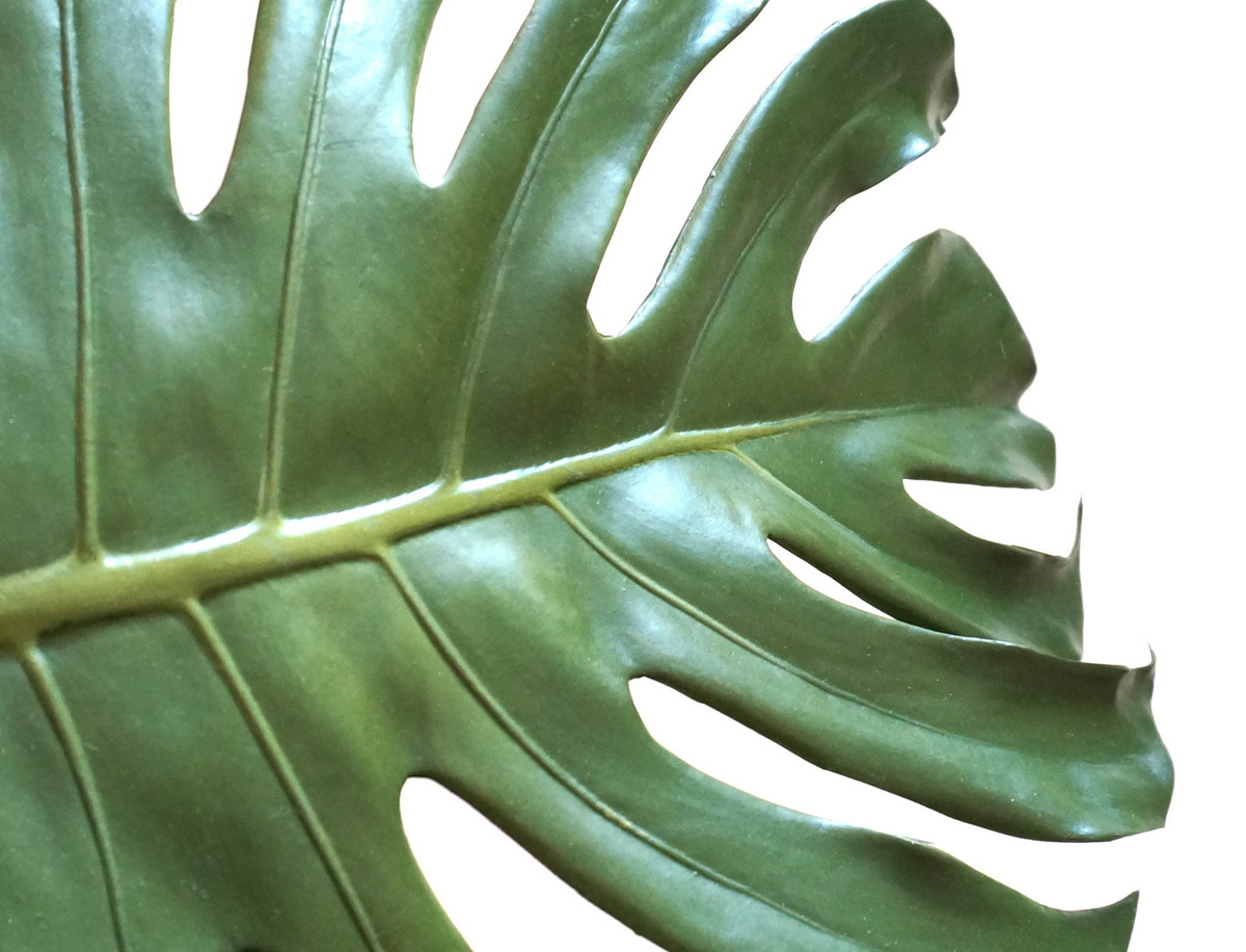 A faux monstera leaf