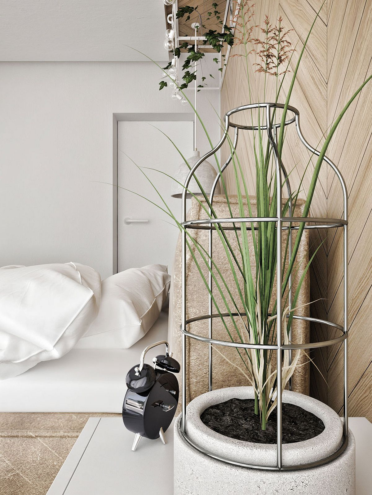 A touch of green for the contemporary bedroom in white