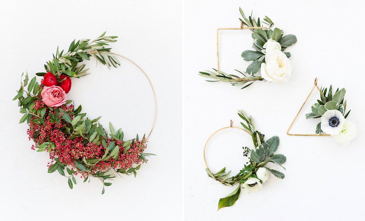 Asymmetrical wreaths from Paper & Stitch