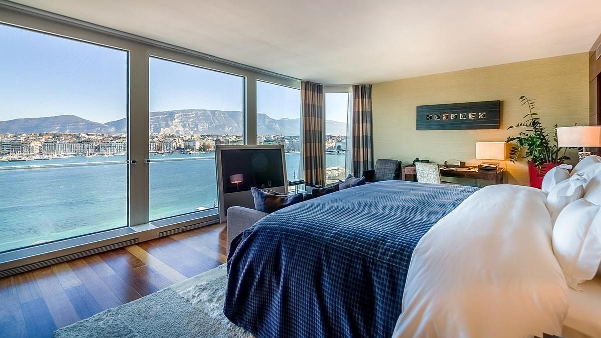Bedroom with Lake View at the Grand Hotel Kempinski Geneva