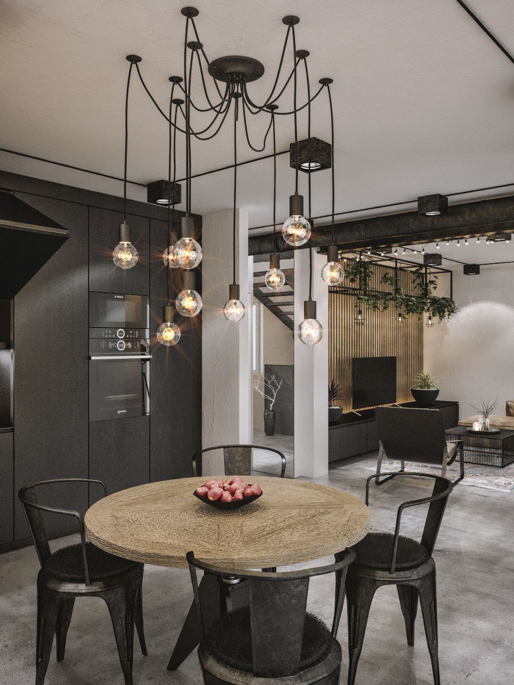 Black becomes the color of choice inside the industrial kitchen and dining area