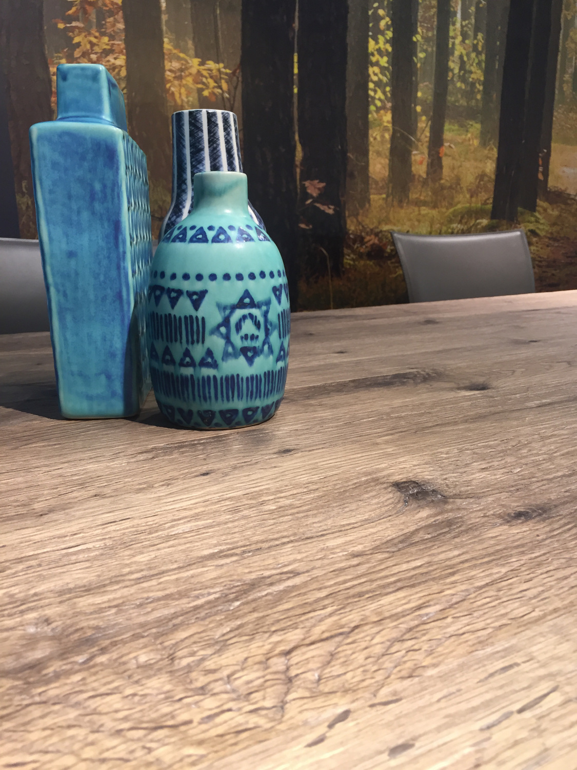Blue vases are vibrant yet mellow