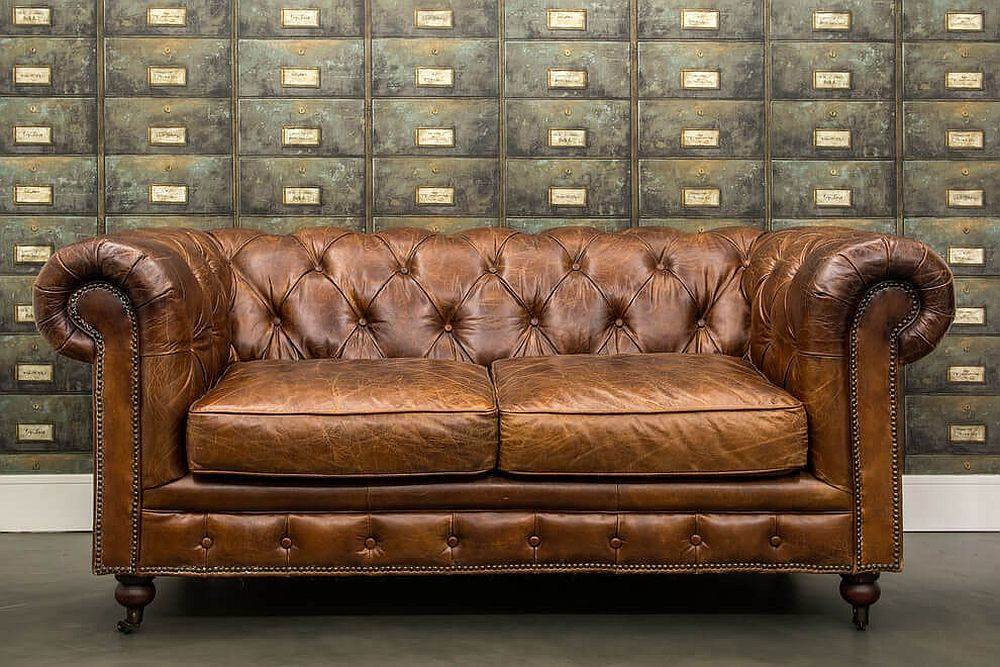 Classic leather sofa for the modern industrial home