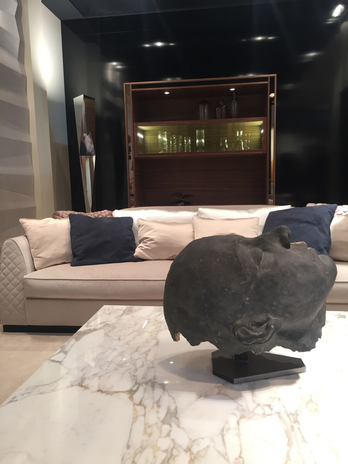 Coffee table with sculptural artwork