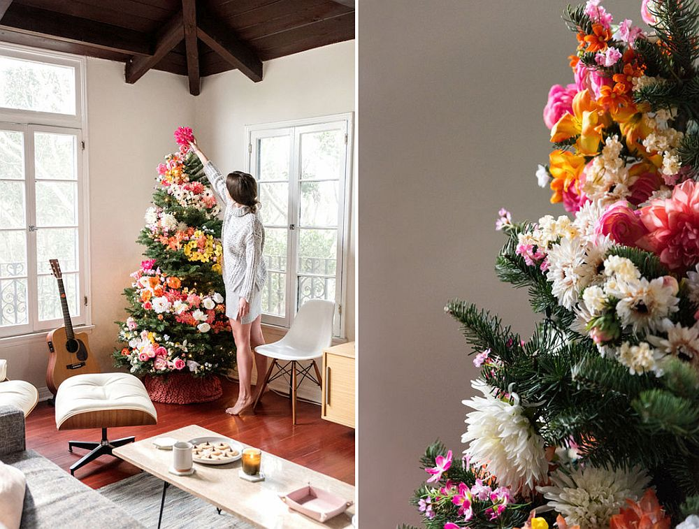 Colorful and brilliant DIY floral Christmas tree