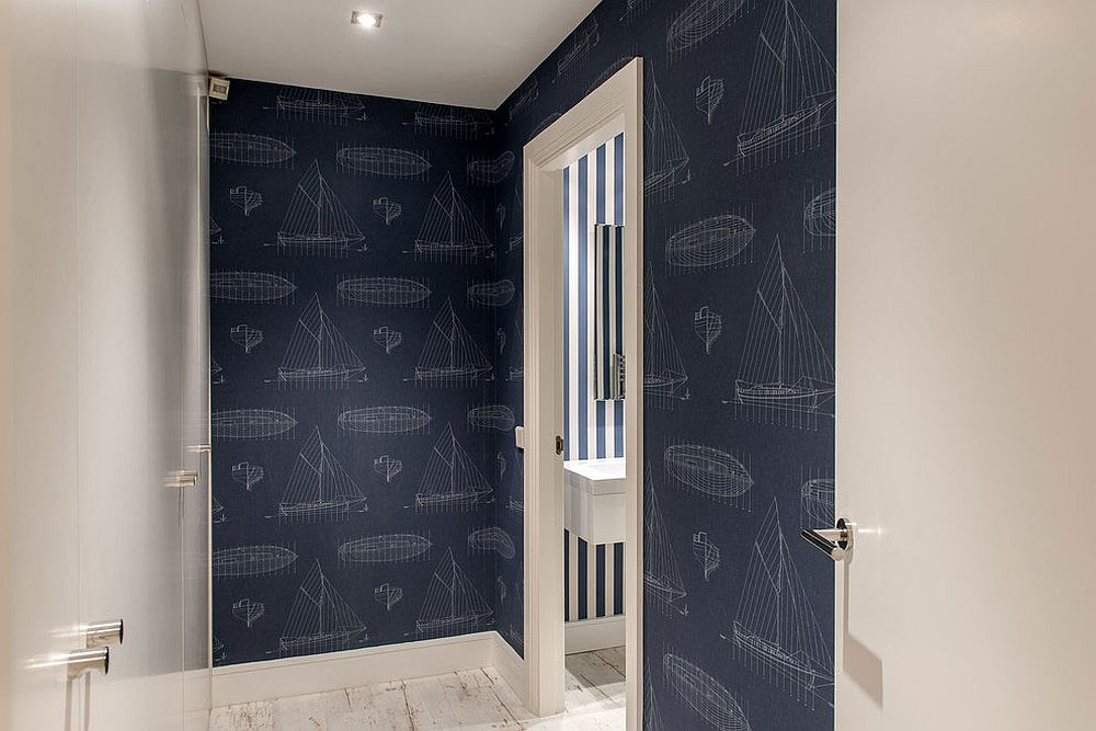 Contemporary bathroom in white and blue with nautical style