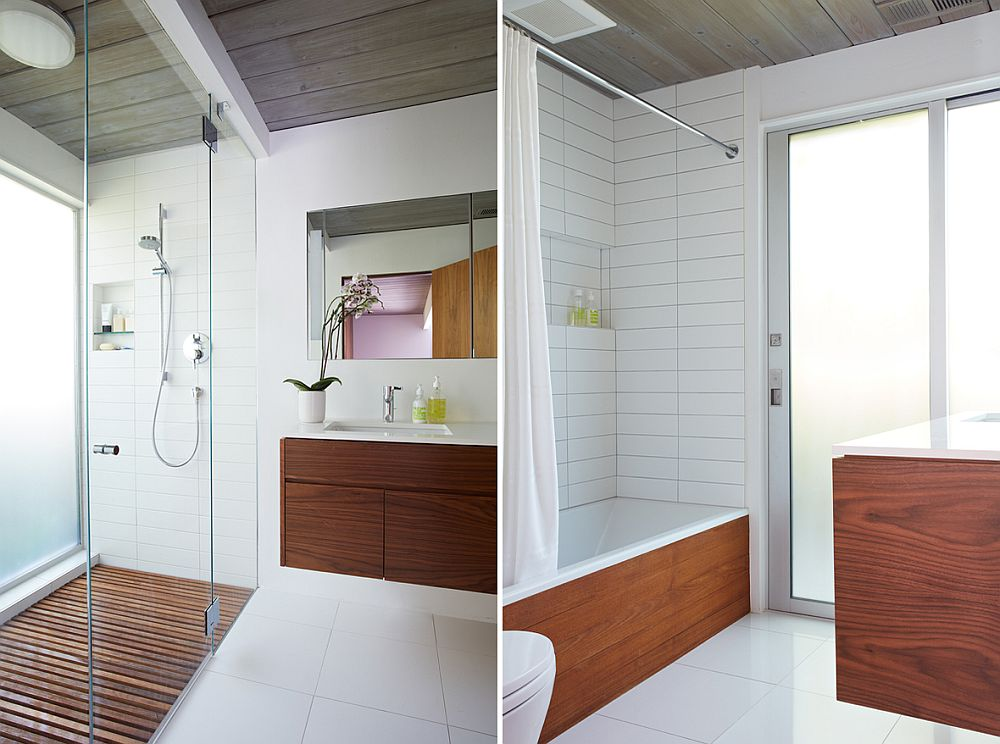 Contemporary bathroom in white and wood