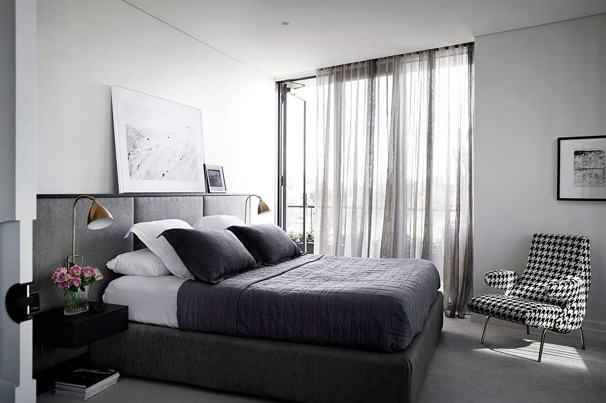 Contemporary bedroom in gray and white