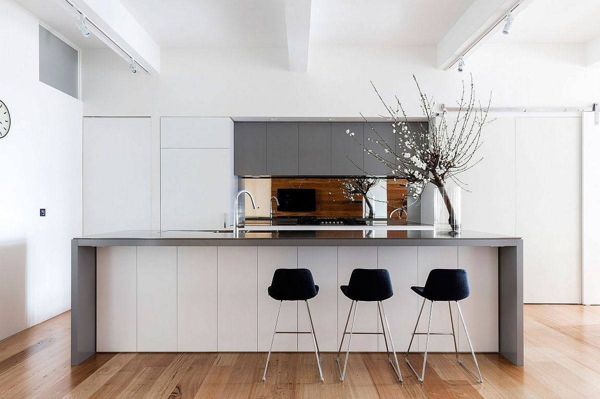 Contemporary kitchen in gray and white