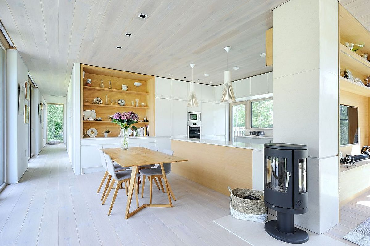 Contemporary kitchen in white with light wooden tones