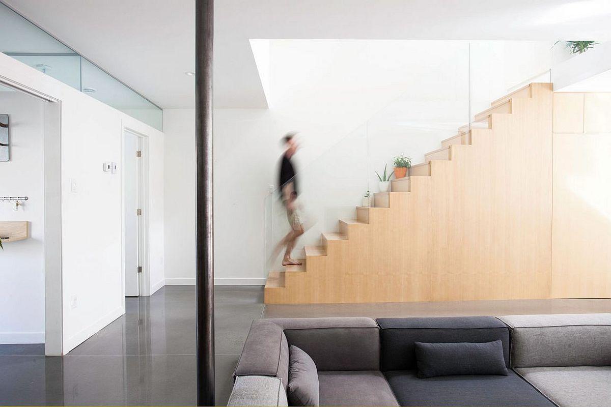 Custom built staircase in ash wood