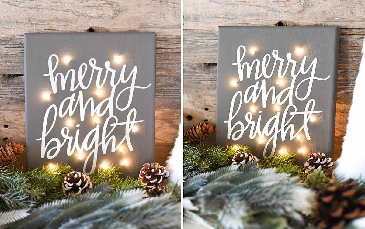 DIY Christmas canvas with twinkle lights [From: A Pumpkin and A Princess]