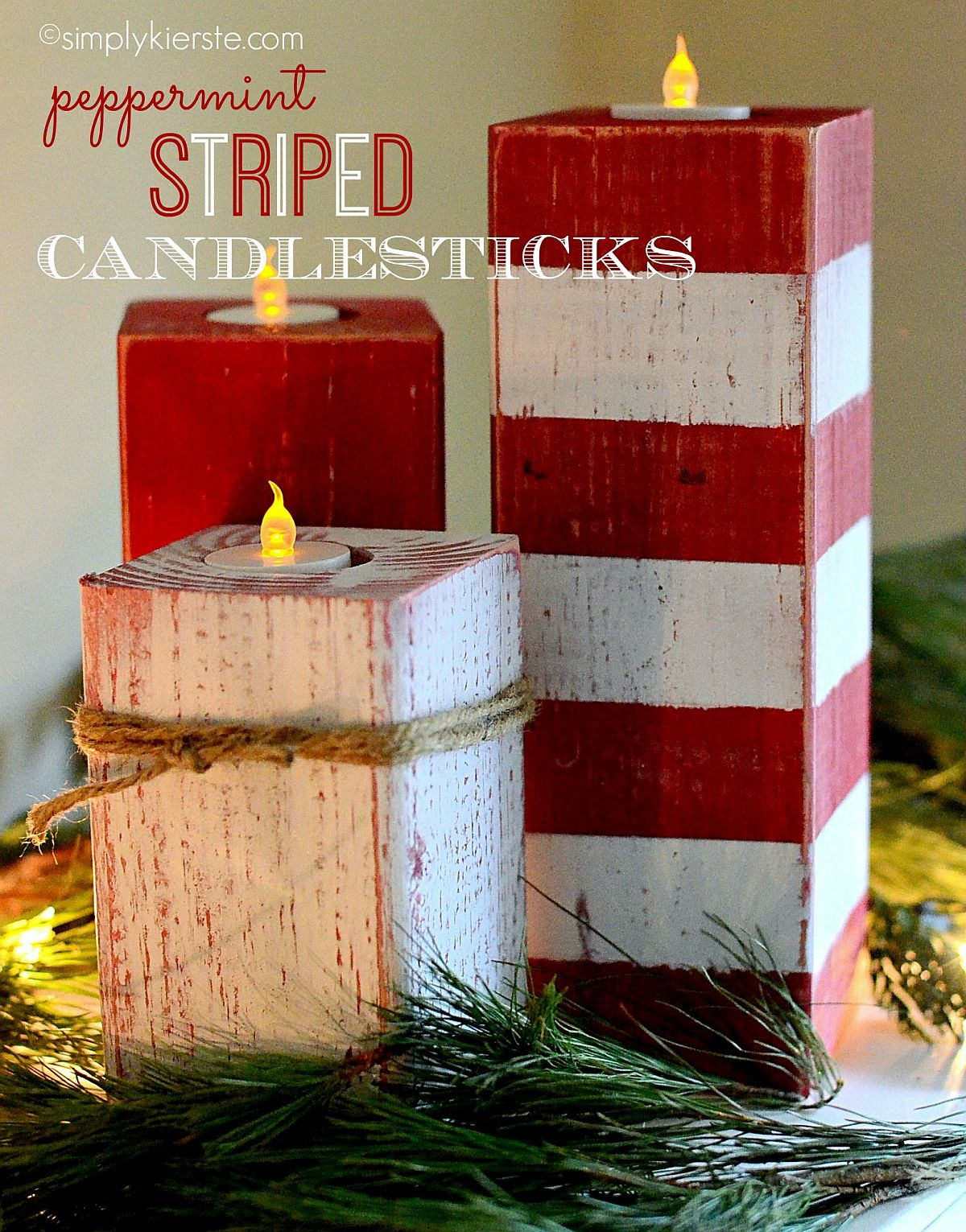 DIY Christmassy Peppermint Striped Candlesticks [From: Simply Kierste]