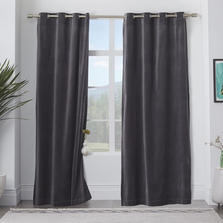 Dark draperies from West Elm