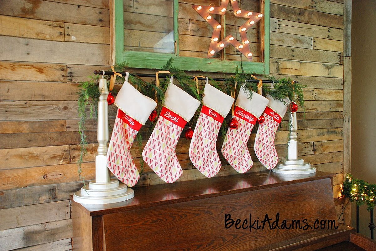 Decorate your living room in style this Christmas with the DIY Stocking holder [From: Becki Adams]