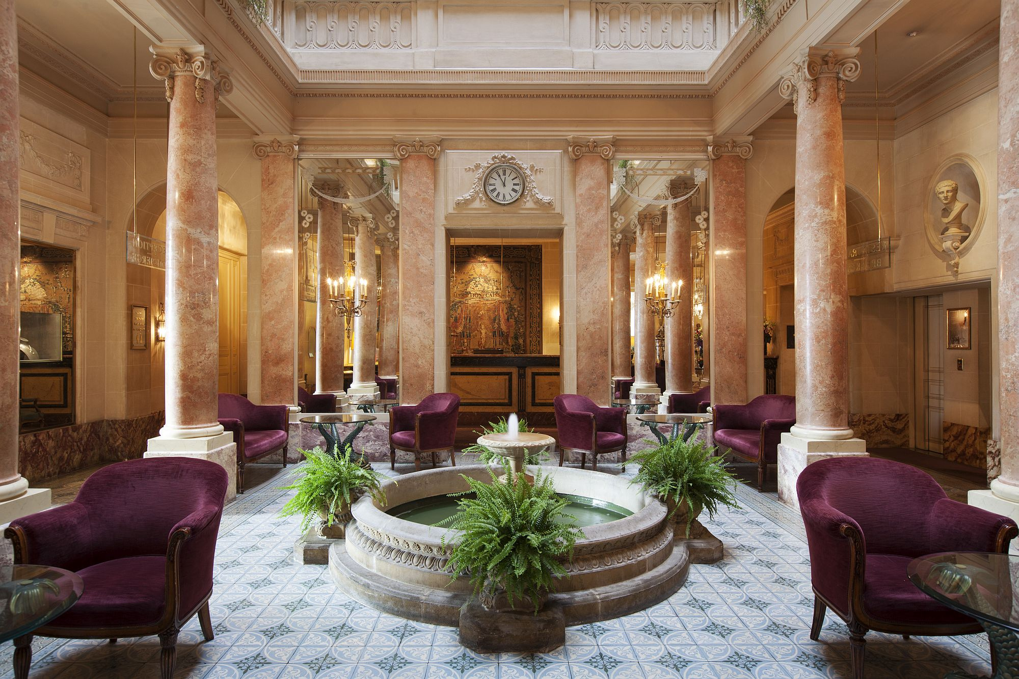 Delightful and dashing atrium at Hotel Beau Rivage