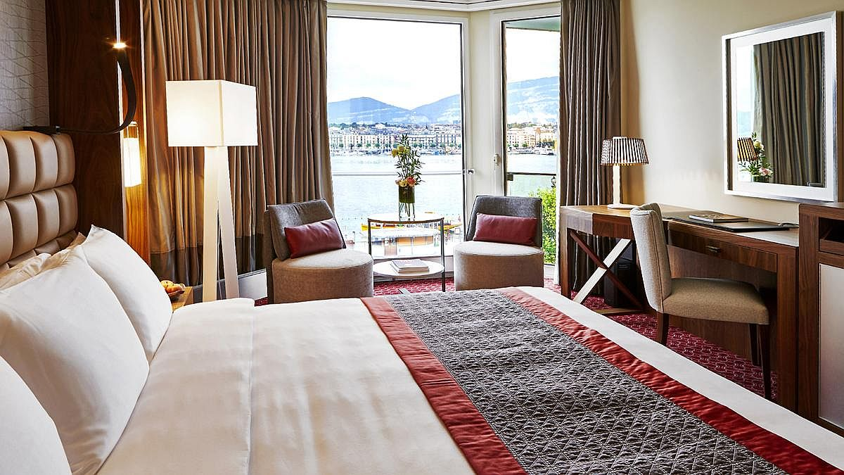 Deluxe room with lake view at the luxurious Swiss Hotel in Geneva