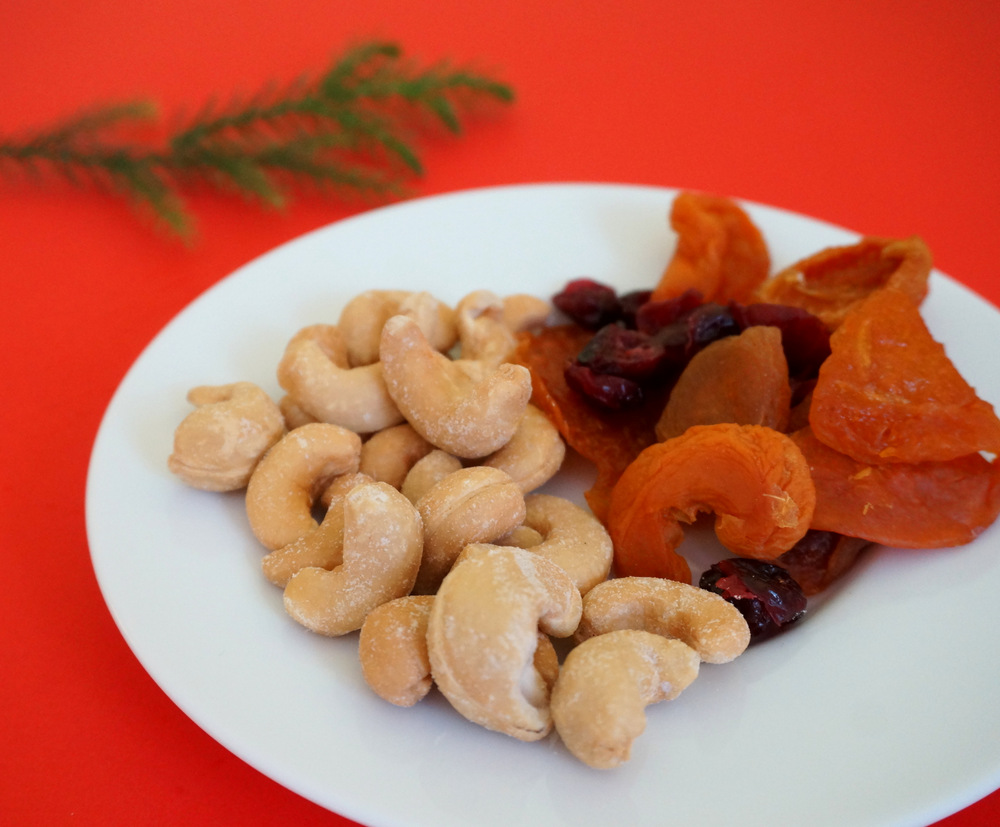 Dried fruit and nuts for holiday snacking